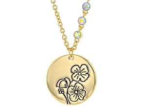 Gold Tone Clear Crystal Accent, Poppy Pendant W/ Chain