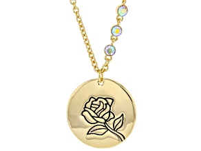 Gold Tone Clear Crystal Accent, Rose Pendant W/ Chain
