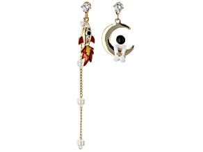 Gold Tone Astronaut With Moon And Spaceship Earrings