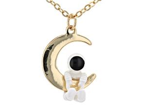 Gold Tone Astronaut Necklace