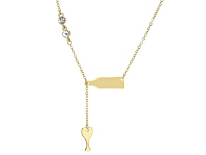 Gold Tone White Crystal Wine Bottle and Wine Glass Drop Necklace