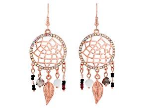 Iridescent Crystal, Rose Tone Dream Catcher Earrings