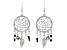 White Crystal, Silver Tone Dream Catcher Earrings