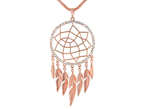Iridescent Crystal, Rose Tone Dream Catcher Necklace