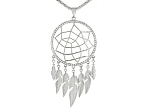 White Crystal, Silver tone Dream Catcher Necklace