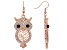 White and Black Crystal Owl Dangle Earrings