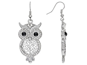 White and Black Crystal Silver Tone Owl Dangle Earrings