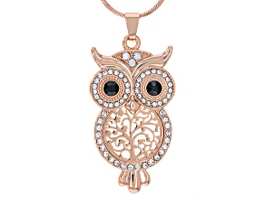 White and Black Crystal Rose Tone Owl Necklace