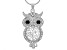 White and Black Crystal Silver Tone Owl Necklace.