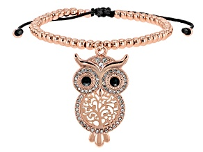 White and Black Crystal, Rose Tone Owl Bolo Bracelet