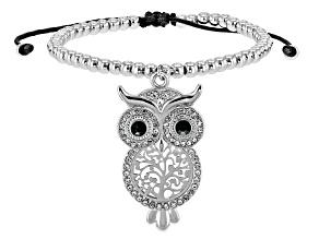 White and Black Crystal Silver Tone Owl Bolo Bracelet