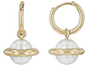 Pearl Simulant Gold Tone Planet Dangle Earrings