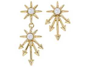 White Lab Created Moonstone Gold Tone Star Drop Earrings