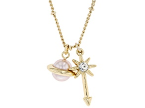 Pink Pearl Simulant and Glass Gold Tone Planet Charm Necklace