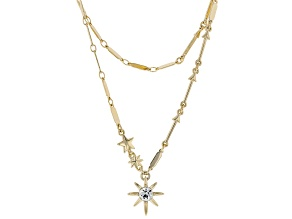 White Glass Gold Stardust 2-Strand Necklace