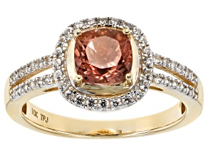 Peach Oregon Sunstone 10k Yellow Gold Ring 1.31ctw