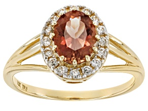 Peach Oregon Sunstone 10k Yellow Gold Ring 1.24ctw