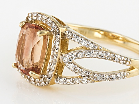 Peach Oregon Sunstone 10k Yellow Gold Ring 1.63ctw