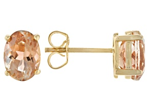 Peach Oregon Sunstone 10k Yellow Gold Earrings 1.44ctw