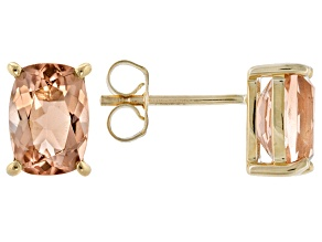 Peach Oregon Sunstone 10k Yellow Gold Earrings 1.70ctw