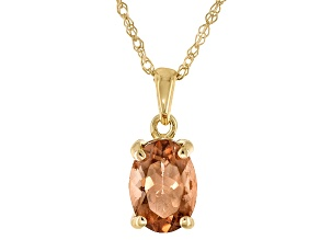 Peach Oregon Sunstone 10k Yellow Gold Pendant With Chain .72ct