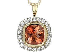 Orange Oregon Sunstone 10k Yellow Gold Pendant With Chain 1.02ctw.