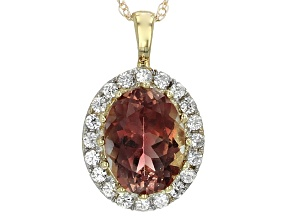 Orange Oregon Sunstone 10k Yellow Gold Pendat With Chain 1.10ctw.