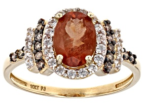 Orange Sunstone 10k Yellow Gold Ring 1.59ctw.