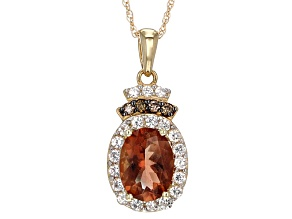 Orange Sunstone 10k Yellow Gold Pendant With Chain 1.24ctw