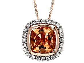 Orange Sunstone 10k Rose Gold Slide With Chain 1.90ctw