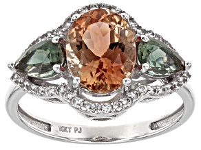 Orange Oregon Sunstone 10k White Gold Ring 2.37ctw