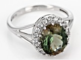 Green Oregon Sunstone 10k White Gold Ring 2.80ctw