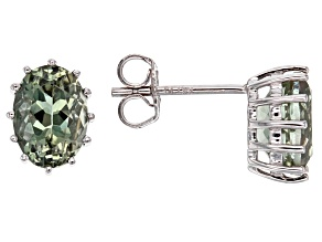 Green Oregon Sunstone 10k White Gold Stud Earrings 1.14ctw