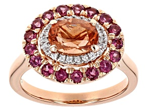 Orange Oregon Sunstone 10k Rose Gold Ring 1.86ctw