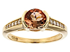 Orange Oregon Sunstone 10K yellow gold ring  1.19ctw