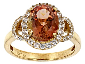 Orange Oregon Sunstone 10K yellow gold ring  2.88ctw
