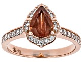 Orange Oregon Sunstone 10K rose gold Ring.  1.09ctw