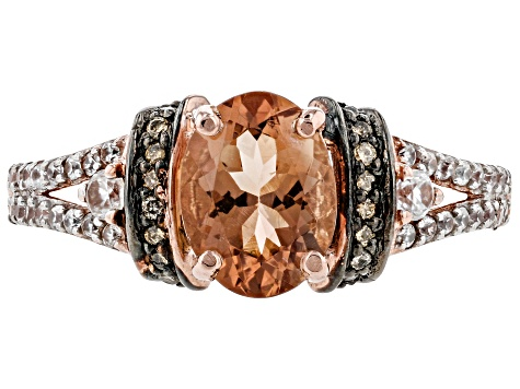 Orange Oregon Sunstone 10K rose gold ring  1.24ctw