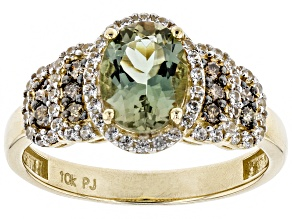 Green Oregon Sunstone 10K Yellow Gold Ring 1.33ctw