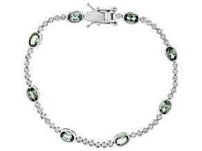 Green Oregon sunstone 10K white gold bracelet  4.42ctw