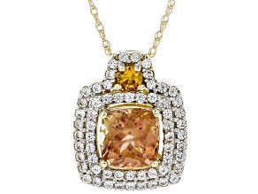 Orange Oregon Sunstone 10K yellow gold slide with chain 1.23ctw