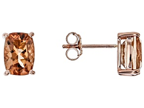 Orange Oregon Sunstone 10K rose gold stud earrings  1.70ctw