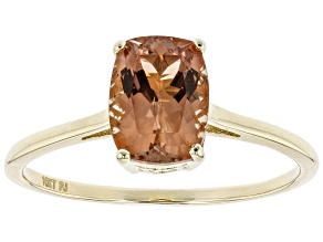 Orange Sunstone solitaire 10K gold ring Ring  1.25ct