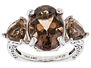 Brown Brazilian Smoky Quartz Rhodium Over Sterling Silver Ring 6.59ctw.