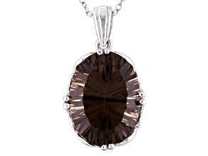 Brown Brazilian Smoky Quartz Rhodium Over Sterling Silver Pendant With Chain 7.72ctw.
