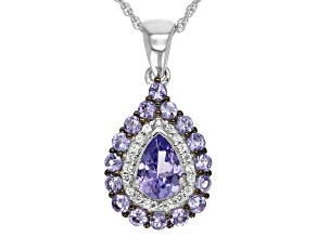 Blue Tanzanite Sterling Silver Pendant With Chain 1.22ctw