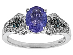 Blue Tanzanite Sterling Silver Ring 1.42ctw