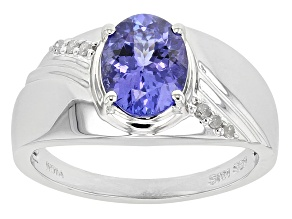 Blue Tanzanite And White Diamond Sterling Silver Ring 1.73ctw