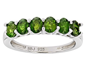 Green Russian Chrome Diopside Rhodium Over Sterling Silver Band Ring .97ctw.