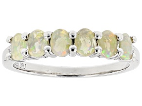 Multi Color Ethiopian Opal Sterling Silver Ring .55ctw.